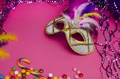 Carnival. Festive Background With Copy Space. Carnival Mask With Feathers On A Pink Background With  poster