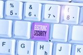 Conceptual Hand Writing Showing Electronic Security. Business Photo Showcasing Electronic Equipment  poster