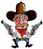 stock photo of gunfights  - Cartoon cowboy with his guns drawn - JPG