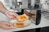 Breakfast Toast. Toast Bread Close Up. A poster