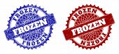 Round Frozen Stamps. Blue And Red Scratched Stamps With Frozen Phrase Inside Round Rosette. Flat Vec poster