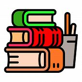 Stack School Books Icon. Outline Stack School Books Vector Icon For Web Design Isolated On White Bac poster