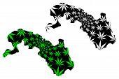 Plateau-central Region (regions Of Burkina Faso, Burkina Faso) Map Is Designed Cannabis Leaf Green A poster