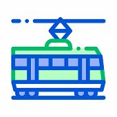Public Transport Tramway Vector Thin Line Icon. Tramway Tram Street-car, Urban Passenger Transport L poster