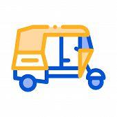 Public Transport Rickshaw Vector Thin Line Icon. Indian Tuk Tuk Rickshaw Taxi, Urban Passenger Trans poster