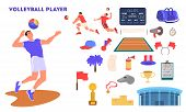 Volleyball Player Jumping And Hitting A Ball. Volleyball Player Training. poster