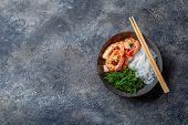 Shirataki Noodles, Shrimps And Seaweed Chuka Bowl. Healthy Low Carbs, Low Calories Lanch poster