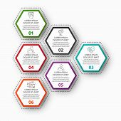 Vector Infographic With 6 Pentagons. Used For Six Diagrams, Graph, Flowchart, Timeline, Marketing, P poster