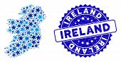 Blue Ireland Countries Map Composition Of Stars, And Distress Rounded Stamp. Abstract Territory Plan poster
