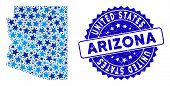 Blue Arizona State Map Mosaic Of Stars, And Textured Rounded Stamp. Abstract Territory Scheme In Blu poster