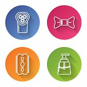 Set Line Electrical Hair Clipper Or Shaver, Bow Tie, Blade Razor And Aftershave. Color Circle Button poster