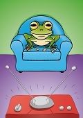 pic of brainwashing  - illustration  of a frog that looks at the  TV - JPG