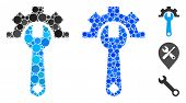 Service Tools Mosaic Of Round Dots In Various Sizes And Color Hues, Based On Service Tools Icon. Vec poster
