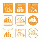 Sustainable Cities Icon Set. Linear And Flat Style Icons. Eleventh (11) Goal Of Sustainable Developm poster