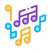 Melody Music Mono And Treble Notes Vector Icon Thin Line. Microphone And Dynamic, Concert And Theate poster