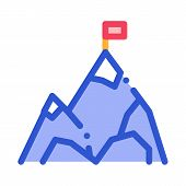 Mountain With Flag On Peak Alpinism Vector Icon Thin Line. Compass, Mountain Direction And Burner Mo poster