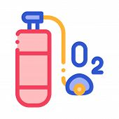 Oxygen Cylinder Alpinism Equipment Vector Icon Thin Line. Compass, Mountain Direction And Burner Mou poster