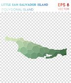 Little San Salvador Island Polygonal, Mosaic Style Island Map. Bold Low Poly Style, Modern Design Fo poster
