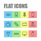 Hardware Icons Set With Projector, 3d Glasses, Antenna And Other Presentation Elements. Isolated Vec poster