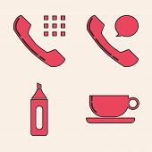 Set Coffee Cup Flat, Telephone Handset, Telephone Handset And Speech Bubble Chat And Marker Pen Icon poster