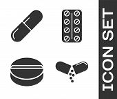 Set Medicine Pill Or Tablet, Medicine Pill Or Tablet, Medicine Pill Or Tablet And Pills In Blister P poster