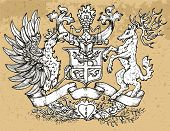 Heraldic Emblem With Fairy Rooster Bird And Deer With Big Horns On Texture Background. Hand Drawn En poster