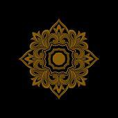 Black Gold Vintage Ornaments, Carved Border Ornaments, Flower Ornaments, Retro Pattern Ornaments, Sq poster