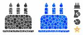 Birthday Cake Mosaic Of Round Dots In Various Sizes And Color Hues, Based On Birthday Cake Icon. Vec poster