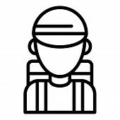 Hiking Boy Icon. Outline Hiking Boy Vector Icon For Web Design Isolated On White Background poster