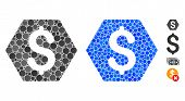 Finance Mosaic Of Round Dots In Different Sizes And Color Tinges, Based On Finance Icon. Vector Roun poster