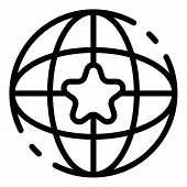 Star Global Mission Icon. Outline Star Global Mission Vector Icon For Web Design Isolated On White B poster