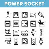 Electric Power Socket Collection Icons Set Vector Thin Line. Electrical Socket, Rosette And Cord Cab poster