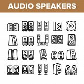 Audio Music Speakers Collection Icons Set Vector Thin Line. Electronic Acoustic Audio Sound Speakers poster