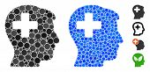 Plus Man Head Mosaic Of Round Dots In Various Sizes And Color Hues, Based On Plus Man Head Icon. Vec poster