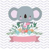 Cute Koala Cartoon And Ribbon Design, Animal Zoo Life Nature Character Childhood And Adorable Theme  poster