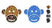 Monkey Face Mosaic Of Spheric Dots In Various Sizes And Color Tinges, Based On Monkey Face Icon. Vec poster