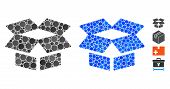 Open Box Mosaic Of Filled Circles In Various Sizes And Shades, Based On Open Box Icon. Vector Small  poster