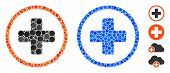 Rounded Plus Mosaic Of Round Dots In Different Sizes And Color Tinges, Based On Rounded Plus Icon. V poster
