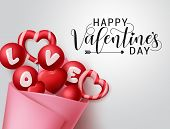 Valentines Candy Bouquet Vector Banner Template. Happy Valentines Day Greeting Text With Valentine E poster