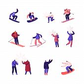 Winter Time Season Holidays Entertainment Activity Set. Happy People Riding Snowboard And Skis, Play poster