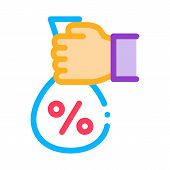 Hand Giving Percent Icon Vector. Outline Hand Giving Percent Sign. Isolated Contour Symbol Illustrat poster