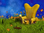 picture of fairy-mushroom  - Fantasy Reading Place in the forest of dreamyland - JPG