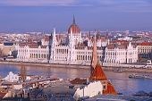 View Of Panorama With Building Of Hungarian Parliament At Danube River In Budapest City, Hungary. poster
