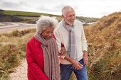 Loving Active Senior Couple Walking Arm In Arm Through Sand Dunes On Winter Beach Vacation poster