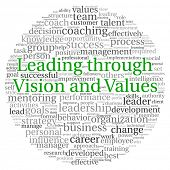 picture of change management  - Leading through vision and values concept in word tag cloud on white background - JPG