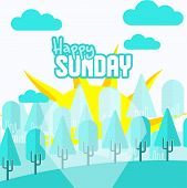 Happy Sun Day Vector Design With Sunlight Sunlight Seen From The Forest poster