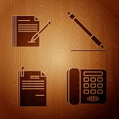 Set Telephone, Blank Notebook And Pen, File Document And Paper Clip And Pen Line On Wooden Backgroun poster