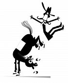 Cartoon Rider Falls From The Horse Isolated Illustration. Funny Horse Kicks A Falling Down Long Must poster