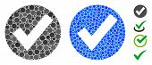 Ok Mark Mosaic Of Round Dots In Various Sizes And Shades, Based On Ok Mark Icon. Vector Round Dots A poster