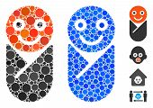 Infant Composition Of Round Dots In Different Sizes And Color Tones, Based On Infant Icon. Vector Ro poster